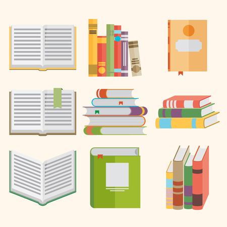 www icon: Set of book icons in flat design style.