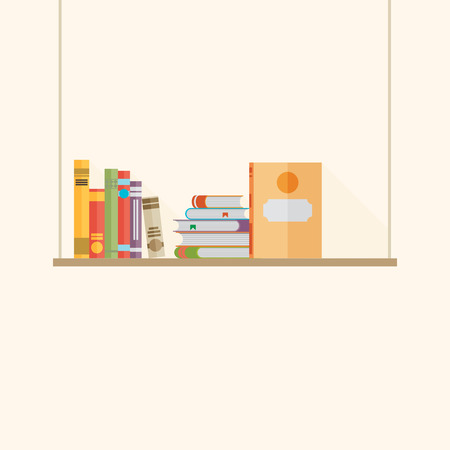 Flat bookshelf with long shadow. Vector icon, illustration. Modern design
