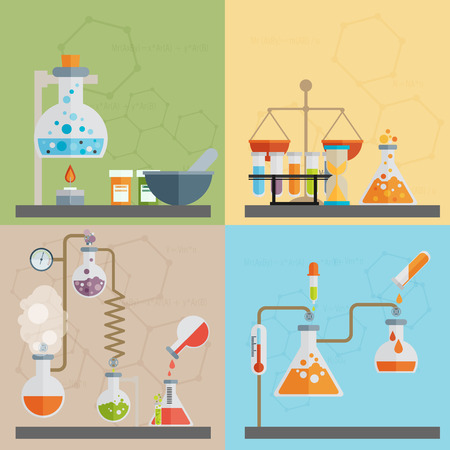 Chemistry decorative flat icons set with lab test and research equipment isolated vector illustration Ilustração