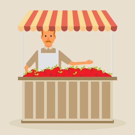 상점 골키퍼를 생성합니다. 자신의 가게에서 일하는 과일과 야채 소매 비즈니스 소유자. 평면 그림입니다. 벡터.
