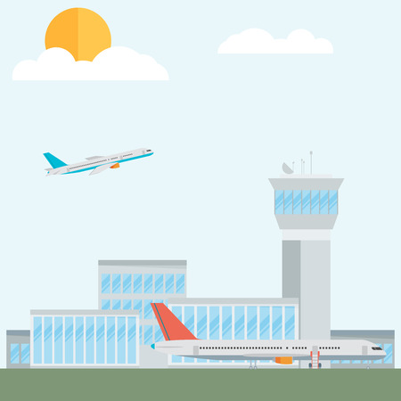 airport: Travel Lifestyle Concept of Planning a Summer Vacation Tourism and Journey Symbol Airplane Airport City Modern Flat Design Icon Template Vector Illustration