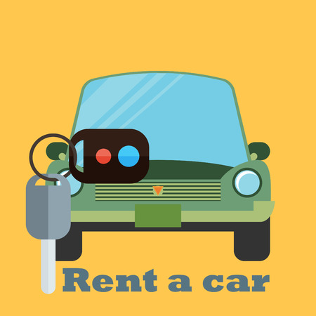 Rent a car design over yellow background, vector illustration