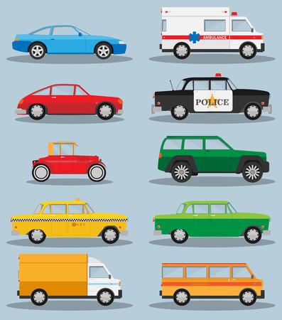 ambulancia: Vector conjunto de diferentes ciudades de tráfico urbano vehículos iconos
