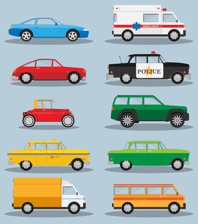 ambulance: Vector set of various city urban traffic vehicles icons
