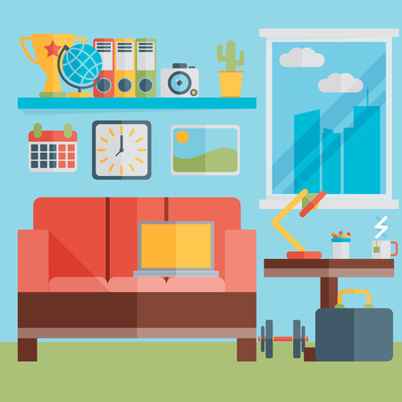 home office interior: Flat design vector illustration of modern home office interior with sofa and laptop