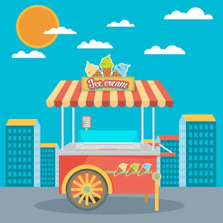 ice cream cart: Shiny colorati gelato illustrazione carrello Vector. Impressionante concetti creativi, icone, elegante disegno elegante elementi grafici, l'arte bella. Vettoriali