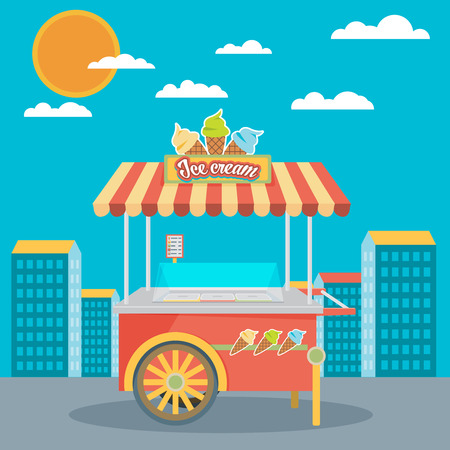 pushcart: Shiny colorful ice cream cart vector illustration. Awesome creative concepts, icons, elegant stylish design graphic elements,beautiful art.