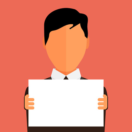 layer mask: Businessman holding blank banner. Flat design with full head of character in clipping mask layer.