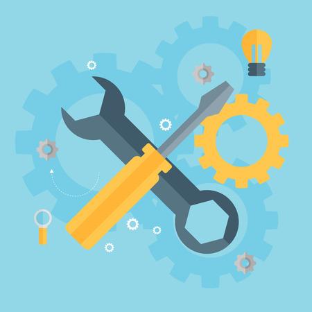 mantenimiento: Icono de la reparación plana. Concepto de servicio mecánico. Creación del sitio Web.