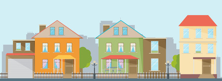 Small town urban landscape in flat design style, vector illustration.