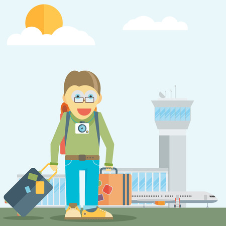 happiness or success: Holiday for businessman, man with travel bag