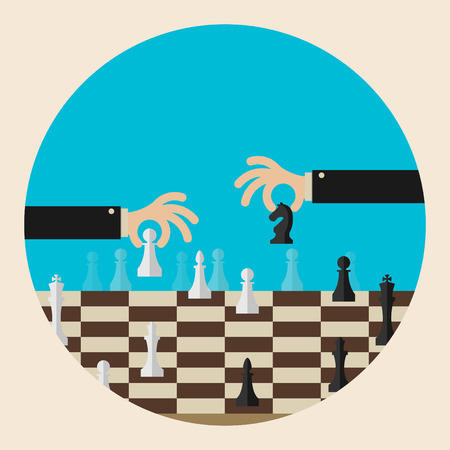 strategic position: Flat design modern vector illustration concept of two business people playing chess and try to find strategic position and tactic for long-term success plan or goal.