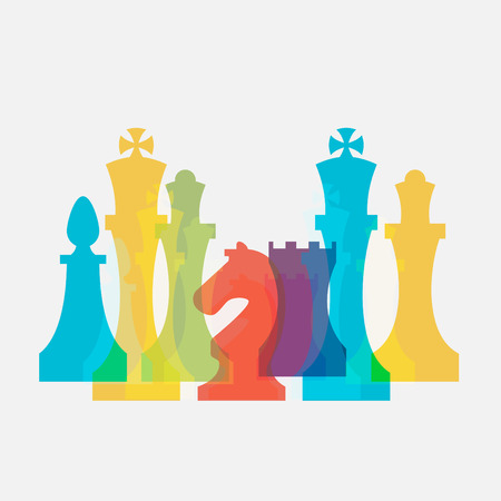 ajedrez: Piezas de ajedrez signo negocio y plantilla de identidad corporativa para el club de ajedrez o de la escuela de ajedrez. Estándar piezas de ajedrez vector icon set. Ajedrez colorida ilustración vectorial Vectores