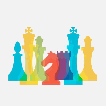 Szachy biznesu znak & Corporate Identity Szablon do klubu szachowego lub Chess szkoły. Standardowe szachy wektorowe ikony zestaw. Kolorowe szachy ilustracji wektorowych