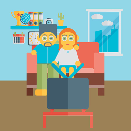 tv show: Illustration of a people watching a TV show together