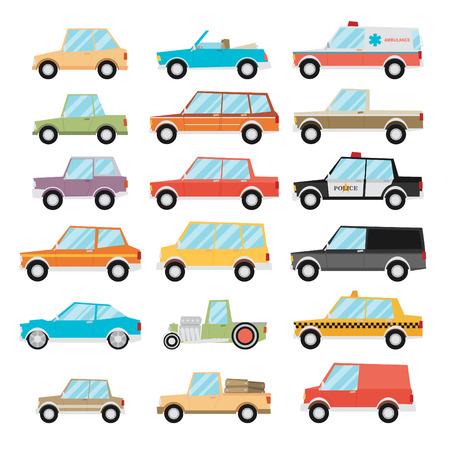 cổ điển: Đặt xe hoạt hình. Vector phẳng.