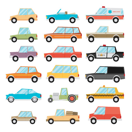 Set of cartoon cars. Flat vector. Çizim