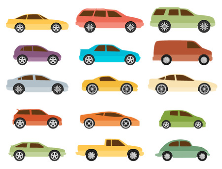 15 cars icon set. Transportation. Vector illustration Vector
