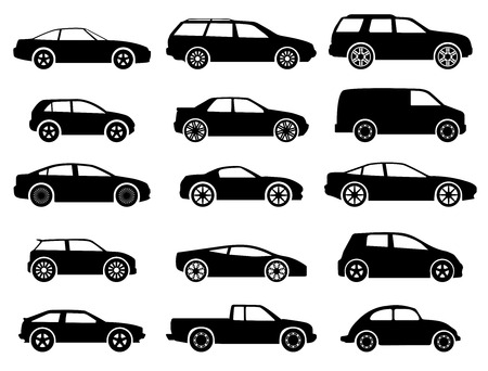 cabrio: vector black auto icon set on white