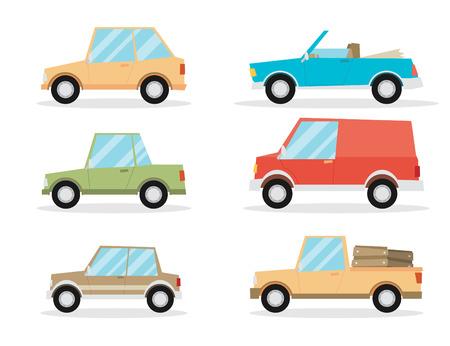 Set of cartoon cars. Flat vector. Ilustração
