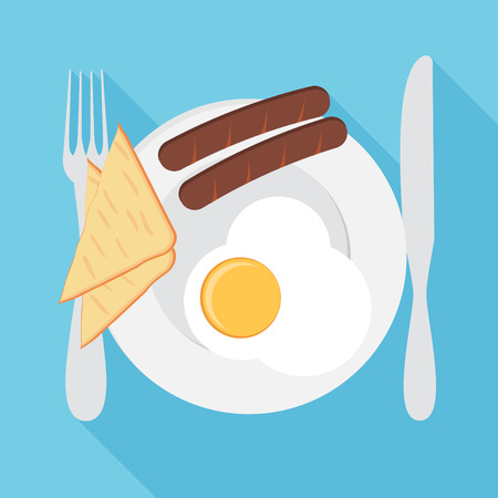 Breakfast vector illustration. Plate with sausage, sandwich and egg. Flat style Ilustração