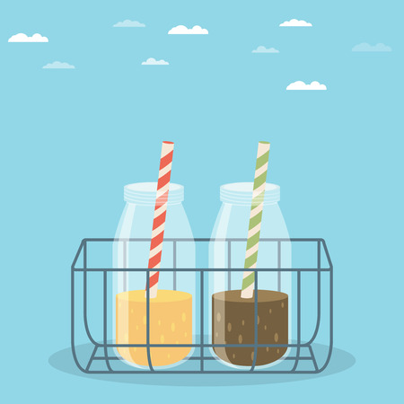 organic drinks: Beautiful modern vector printable design element or web icon on take away smoothies and organic drinks with glass bottles and drinking straws in wire carrier