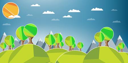 morning dew: Flat design landscape illustration