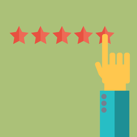 testimonial: Vector customer review concepts in flat style - male hand choosing positive review.