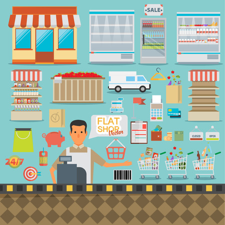 Supermarket online website concept with food assortment, opening hours and payment options icons illustration vector  イラスト・ベクター素材