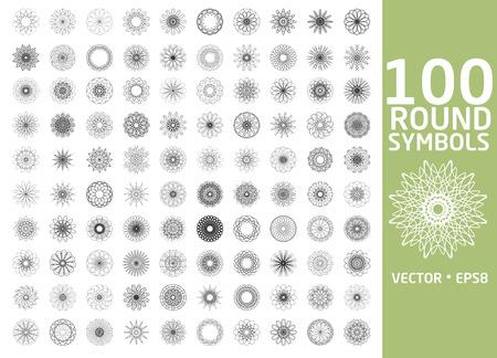 mehendi: Round symbols set. 100 vector spirographs