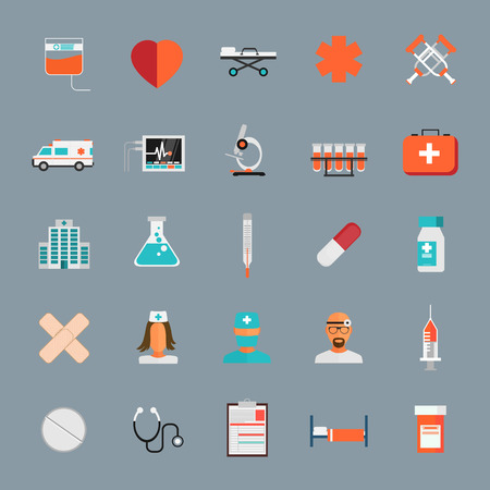 crutches: Vector Medical Icons 25 Set Illustration