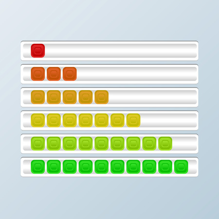 remaining: Set of progress bars. Loading indicators. Vector illustration