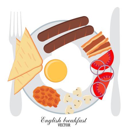 bacon strips: Traditional English Breakfast. Vector illustration