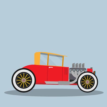 antique fire truck: Vector Hotrod. Flat vector illustration Illustration
