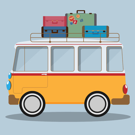 woodstock: Vector illustration of a retro travel van