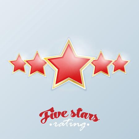 favorite number: Five stars rating. Vector. Illustration