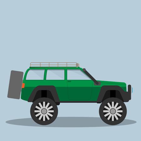 offroad car: Vector green off-road car. Eps 10 Illustration