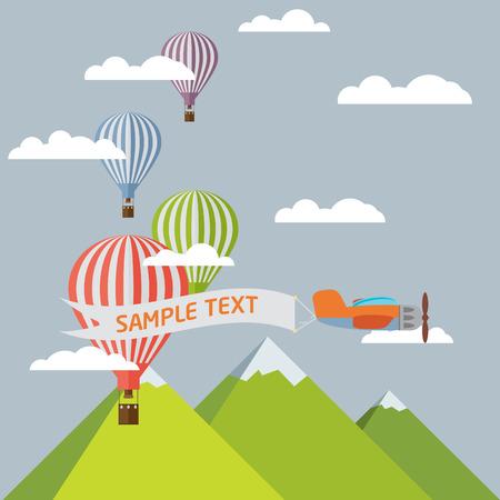 Contexte de ballons à air chaud, plaine avec la bannière, les montagnes et les nuages. Banque d'images - 41439446