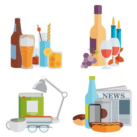 nonalcoholic: Drinks. Alcoholic and non-alcoholic. Flat design