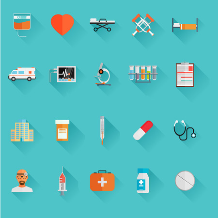 med: Vector Medical Icons 20 Set. Flat vector