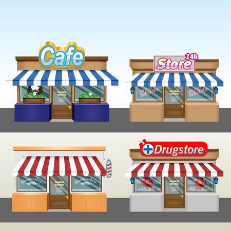Shops, pharmacy, hairdresser. Eps 10