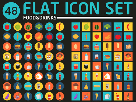 48 flat icon set. Food and drinks. Vector.