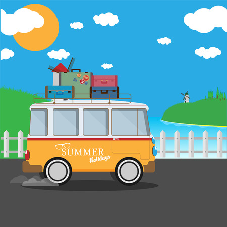 Vector illustration of a retro travel van with nature background Ilustração