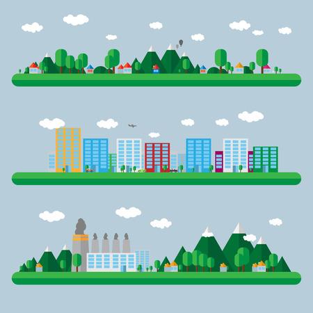 ochtend dauw: Flat design landscape illustration