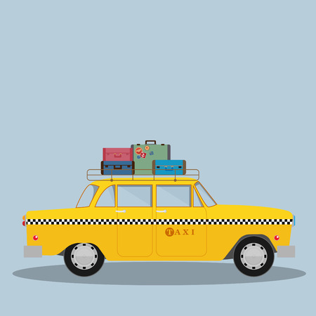 Vector graphic yellow, retro Taxi cab Vector