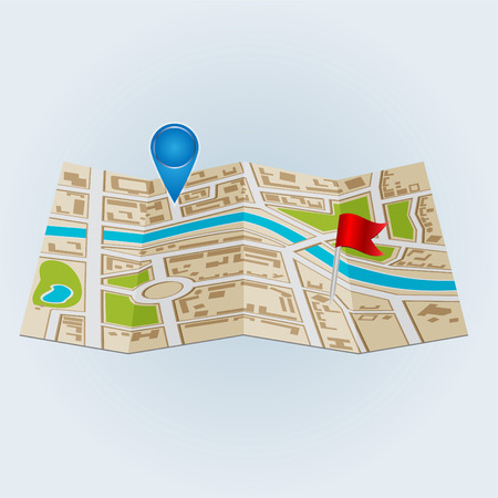 districts: Background of city districts map Illustration