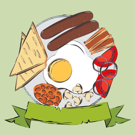english breakfast: Traditional English Breakfast. Vector illustration