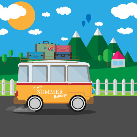 woodstock: Vector illustration of a retro travel van with nature background Illustration