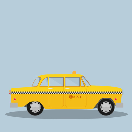 Vector graphic yellow, retro Taxi cab