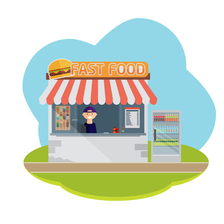 food backgrounds: Stall sells fast food. Flat vector